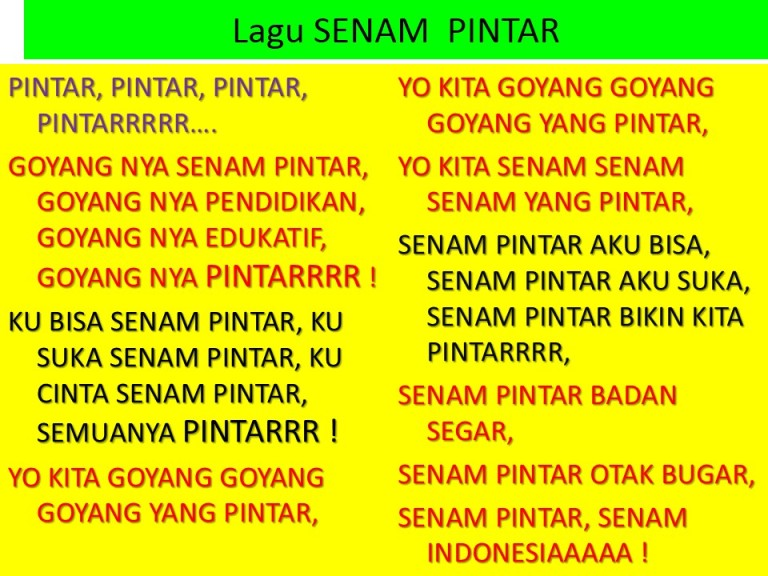 lirik lagu Senam Pintar MCB penyanyi Stevie dan Kenneth Lengkong eLLabyani Melawaty Abyani